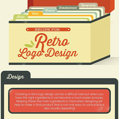 Retro logo design infographic