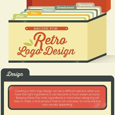 Retro logo design infographic