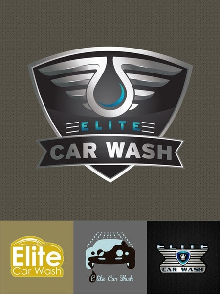 elite car wash cleaning logo design