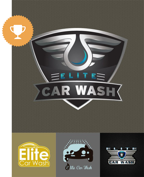 elite car wash automotive logo design