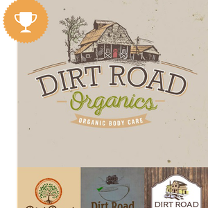 dirt road organics cosmetics & beauty logo design