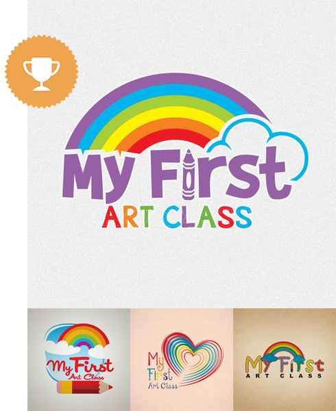 my first art class education logo design