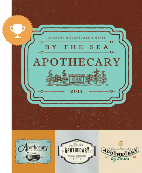 by the sea apothecary floral logo design