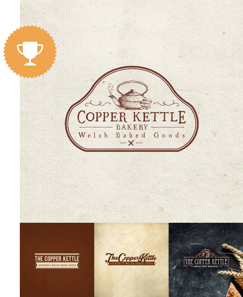 copper kettle bakery food & drink logo design