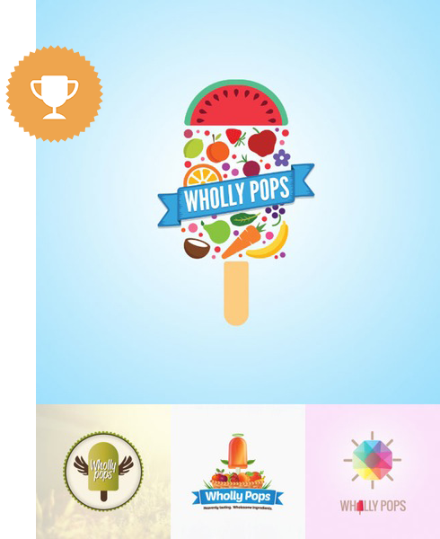 wholly pops food & drink logo design