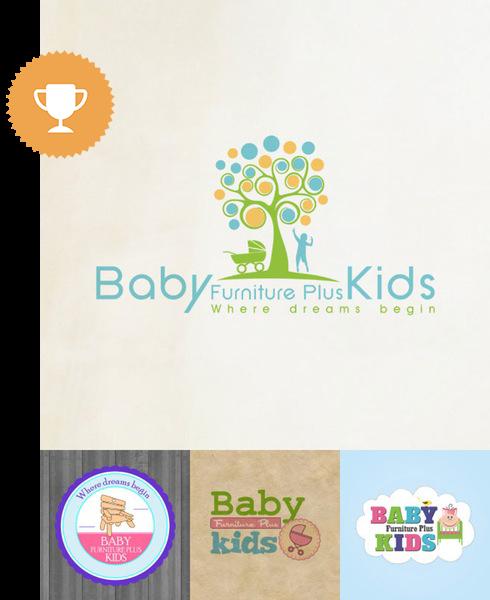 baby furniture plus kids home furnishings logo design