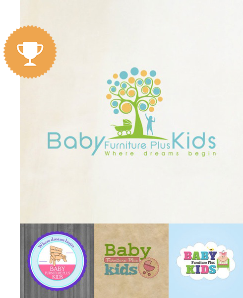 baby furniture plus kids home furnishings logo design
