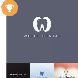 white dental medical logo design