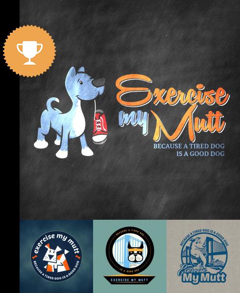 exercise my mutt physical fitness logo design