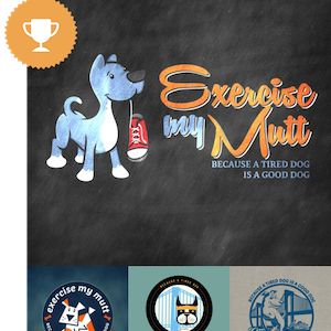 exercise my mutt physical fitness logo design