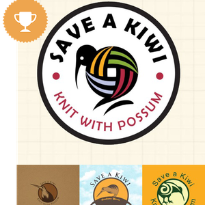 save a kiwi, knit with possum retail logo design