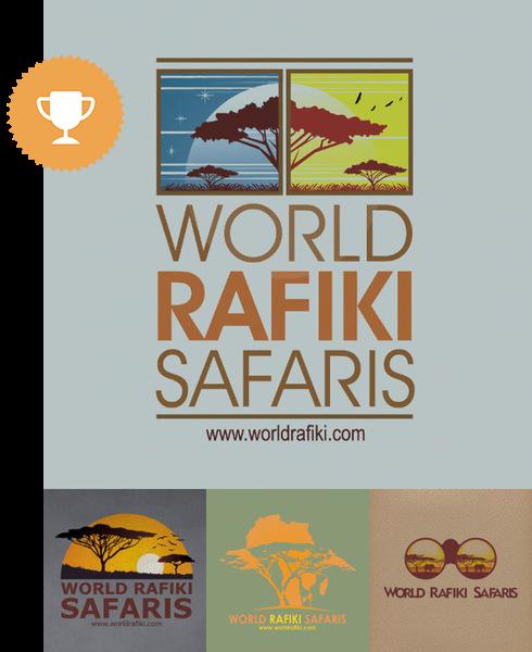 world rafiki safaris travel logo design