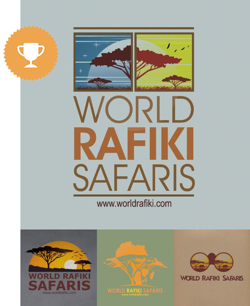 world rafiki safaris travel logo design
