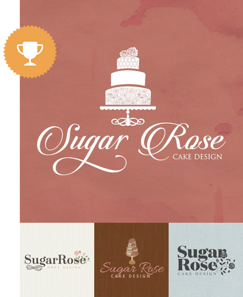 sugar rose cake design wedding services logo design
