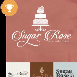sugar rose cake design wedding services logo design