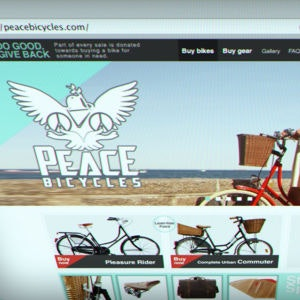 Winning Web page design entry for Peace Bicycles