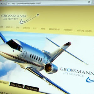 Winning Web page design entry for Grossman Jet Service