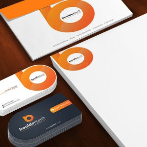 Winning Stationery entry for Boulder Tech