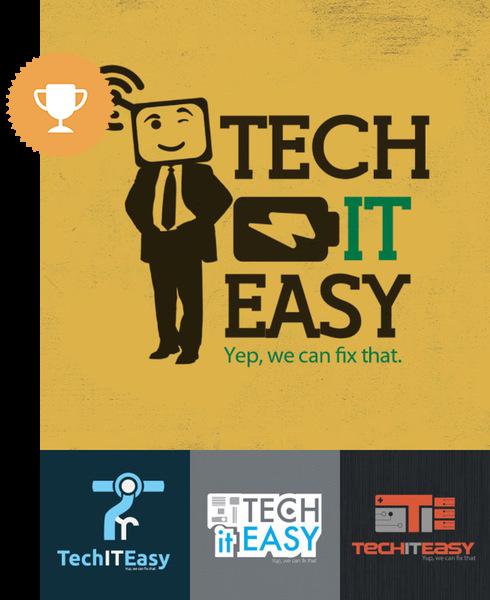 tech it easy computer logo design