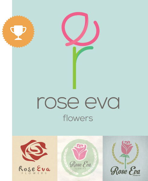 rose eva by belvedere floral logo design