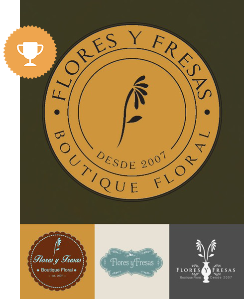 flores y fresas floral logo design