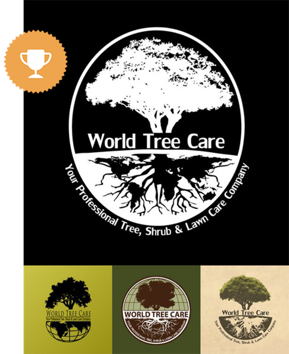 world tree care landscaping logo design