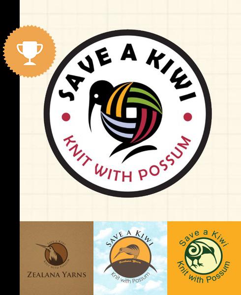 save a kiwi, knit with possum retail logo design