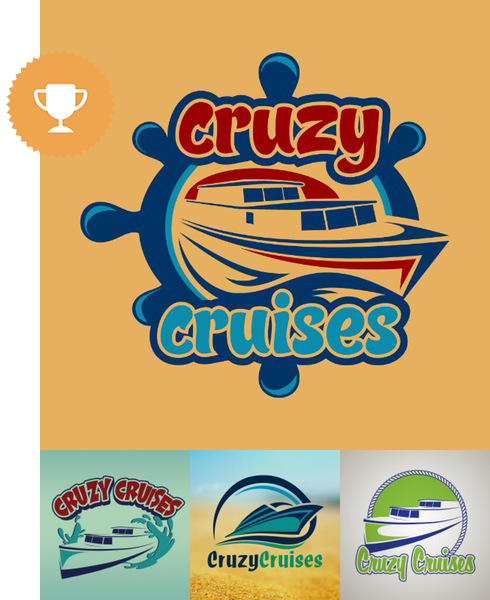 cruzy cruises travel logo design