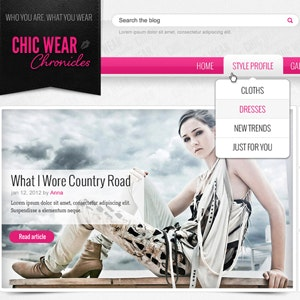 WordPress thema ontwerp voor Chic Wear Chronicles door stefan.asafti