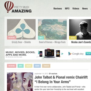 Web page design for Pretty Much Amazing  by Simon Clavey