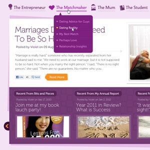 Web page design for VioletLim.com: Diary of a Modern-Day Matchmaker by mkels