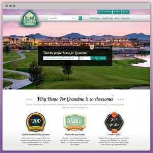 Landing page design for Home for Grandma by WebBox