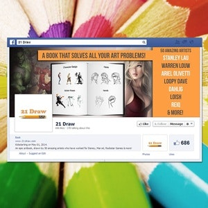 Facebook cover for 21 Draw by Case Creative