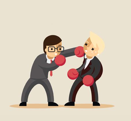 Business men boxing