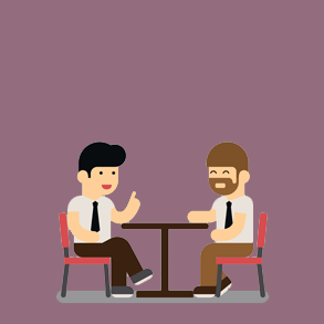Illustration of two business men talking