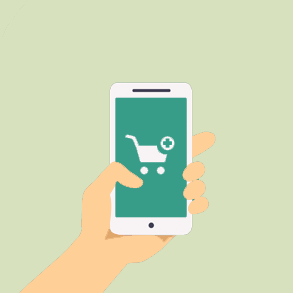 Illustration of cell phone with shopping cart