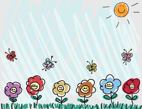 Child's drawing of flowers and sunshine