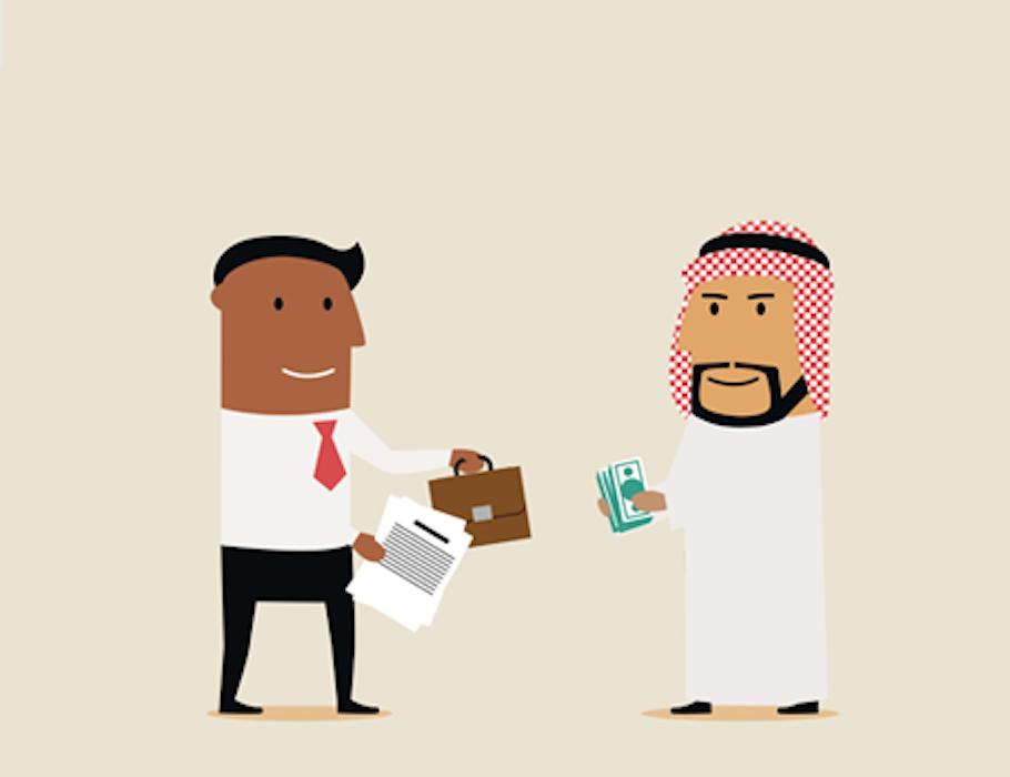 two businessmen having a transaction