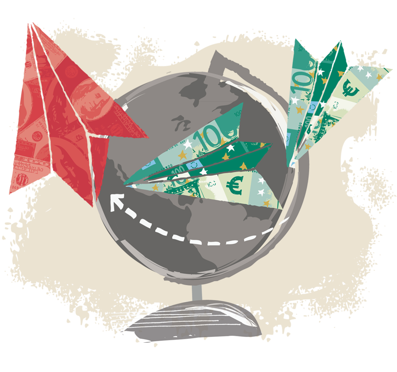 Money paper airplanes flying around globe
