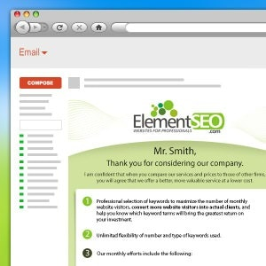 E-mail para Element SEO por Pixelp