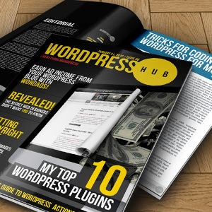 Magazine cover for WordPress Hub by HybridTechSolutions