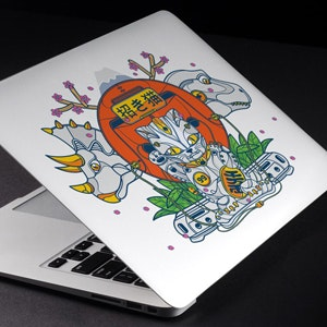 Pegatina para Epic DINOSAUR and CAT illustration needed for a one of a kind custom MacBook Air decal por ghozai