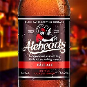 Product label for Black Sands Brewing Company  N.B. The brandname is ALEHEADS  by Tristan Rossi