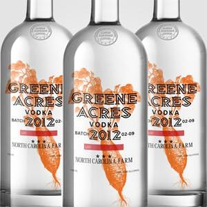 Product label for Greene Acres Vodka by 1302