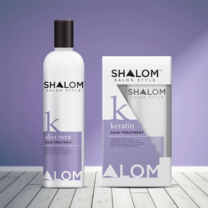 Product packaging for Shalom - hair care by Tavernerraynes