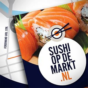 Postcard, flyer or print for Sushi op de Markt / Sushi on the market by PULZdesign