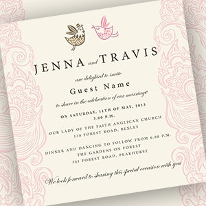 Tarjeta o invitación para Wedding Invitation for a pair of Lovebirds! por Jaci