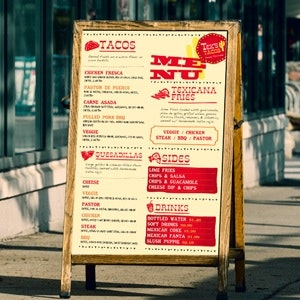 Menu for Tex Tacos by mpkz