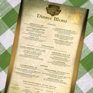 Menu for Tir na nOg by emig