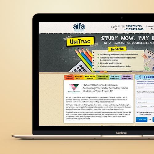 Web page design for AIFA by K.D